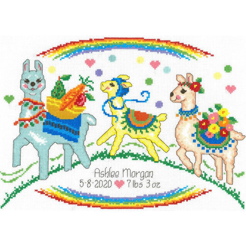 Llama Birth Record Cross Stitch Kit