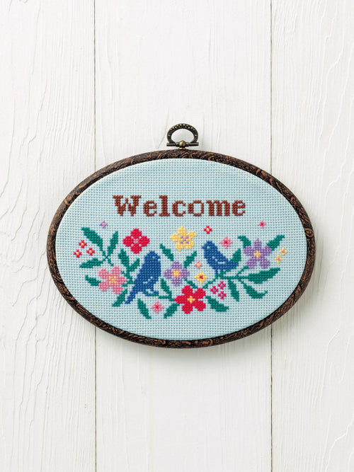 Cross Stitch Kit with Hoop -Welcome (Little Bird design)