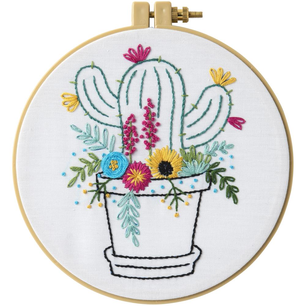 Bucilla Stamped Embroidery Kit-Cactus Bloom