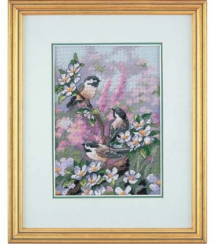 The Gold Collection Counted Cross Stitch Kit -Chickadees in Spring