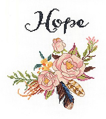 "Janlynn Watercolour Flowers ""Hope"" Cross Stitch Kit"