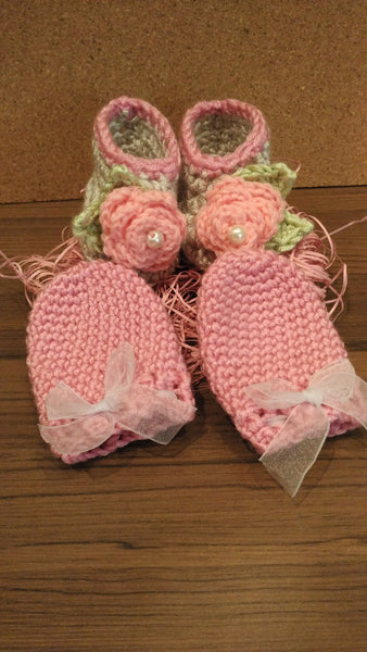 Handmade Baby Bootees and Mittens