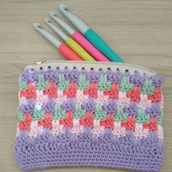 Guided Craft Project- Crochet Zipper Pouch (Using Japanese Symbols)