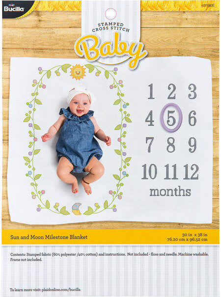 Bucilla Sun and Moon Milestone Baby Blanket - Stamped Cross Stitch Kit