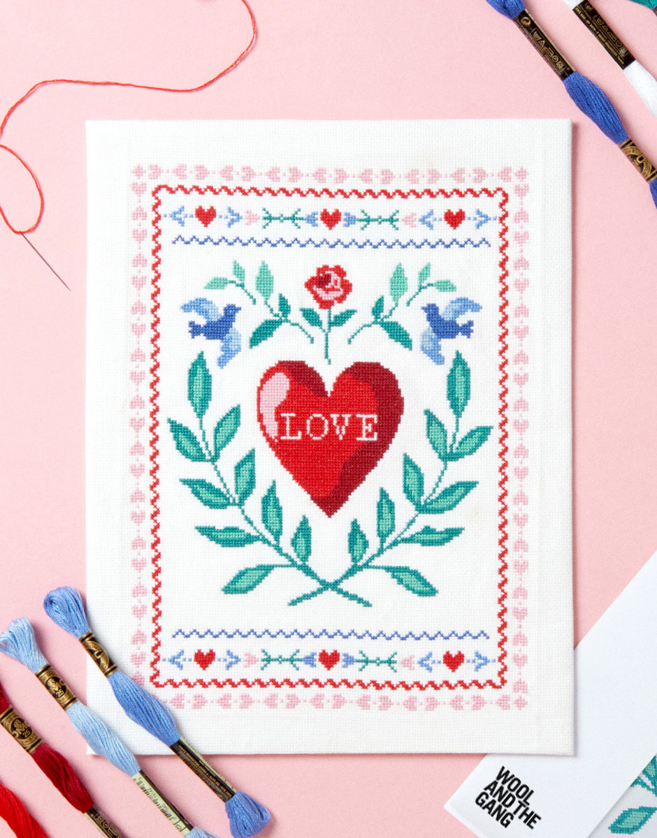 Wool and the Gang- Love Story Cross Stitch Kit