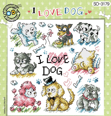 "SODA ""I Love Dog"" Cross Stitch Kit"