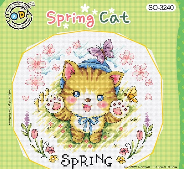 "SODA ""Spring Cat"" Cross Stitch Kit"