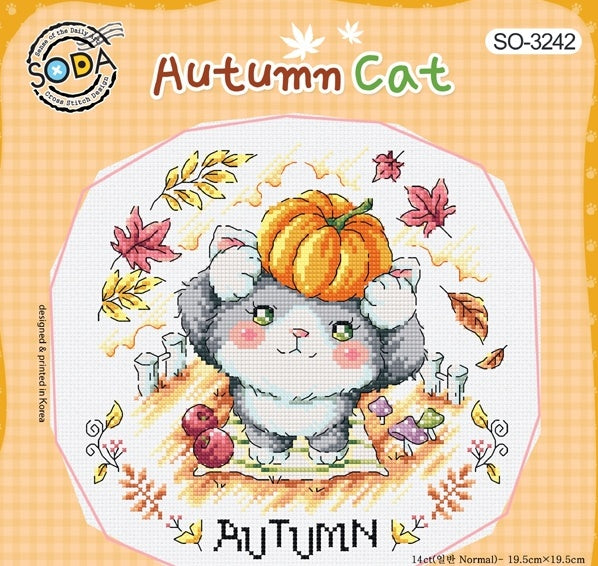 "SODA ""Autumn Cat"" Cross Stitch Kit"