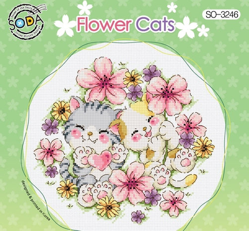 "SODA ""Flower Cats"" Cross Stitch Kit"