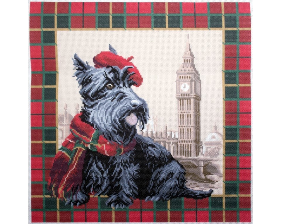 Printed Canvas Cross Stitch Kit- Scottish Terrier in London