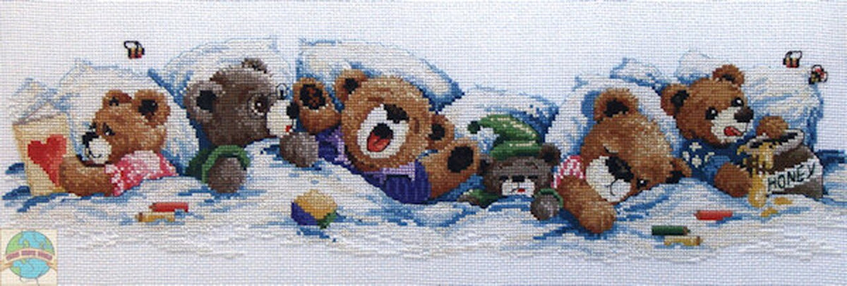 Janlynn Sleepy Bears Cross Stitch Kit