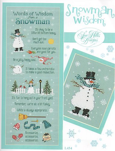 Snowman Wisdom Cross Stitch Chart