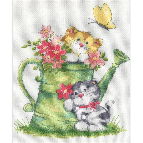 "Design Works ""Watering Can Cats"" Counted Cross Stitch Kit"