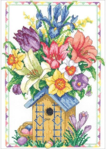 Janlynn Spring Birdhouse Cross Stitch Kit