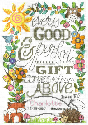 Forest Baby Birth Records Cross Stitch Chart
