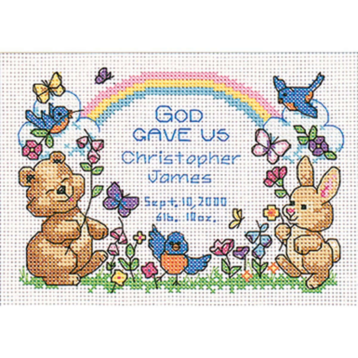 God's Babies Birth Record Cross Stitch Kit By Dimensions