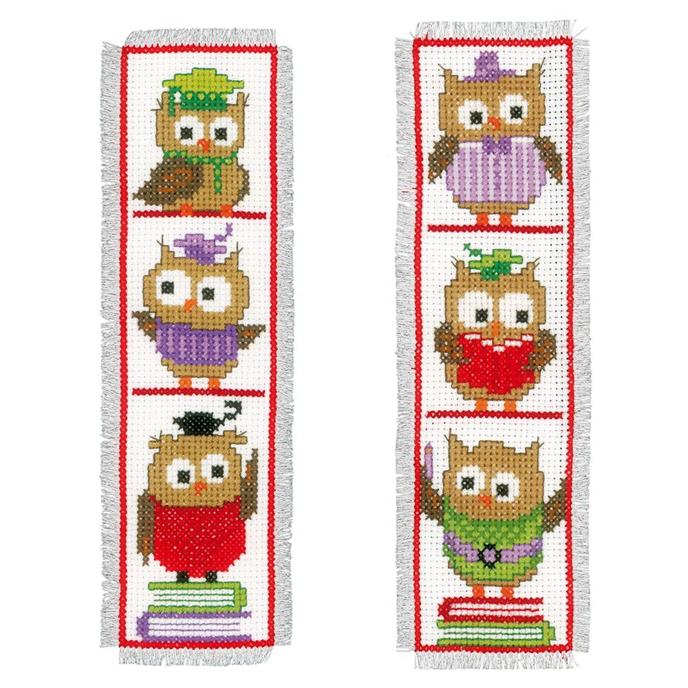 Cross Stitch Bookmark: Clever Owls