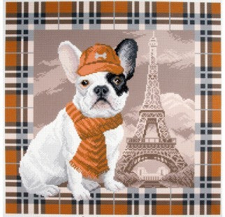 Printed Canvas Cross Stitch Kit- French Pug in Paris