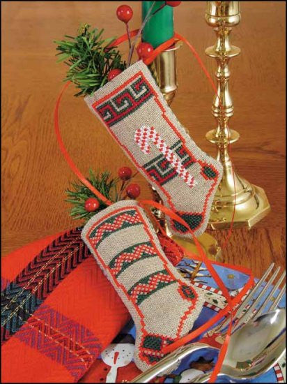 Linen Stocking-Candy Cane Cross Stitch Kit