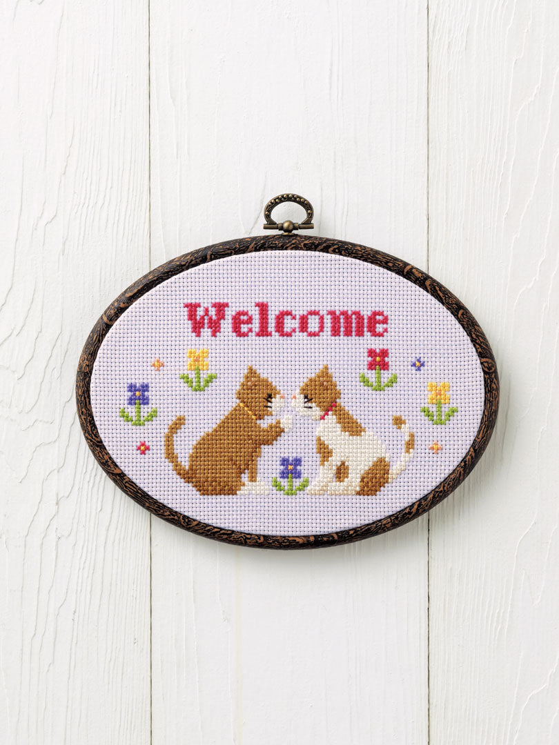 Cross Stitch Kit with Hoop -Welcome (Cat design)