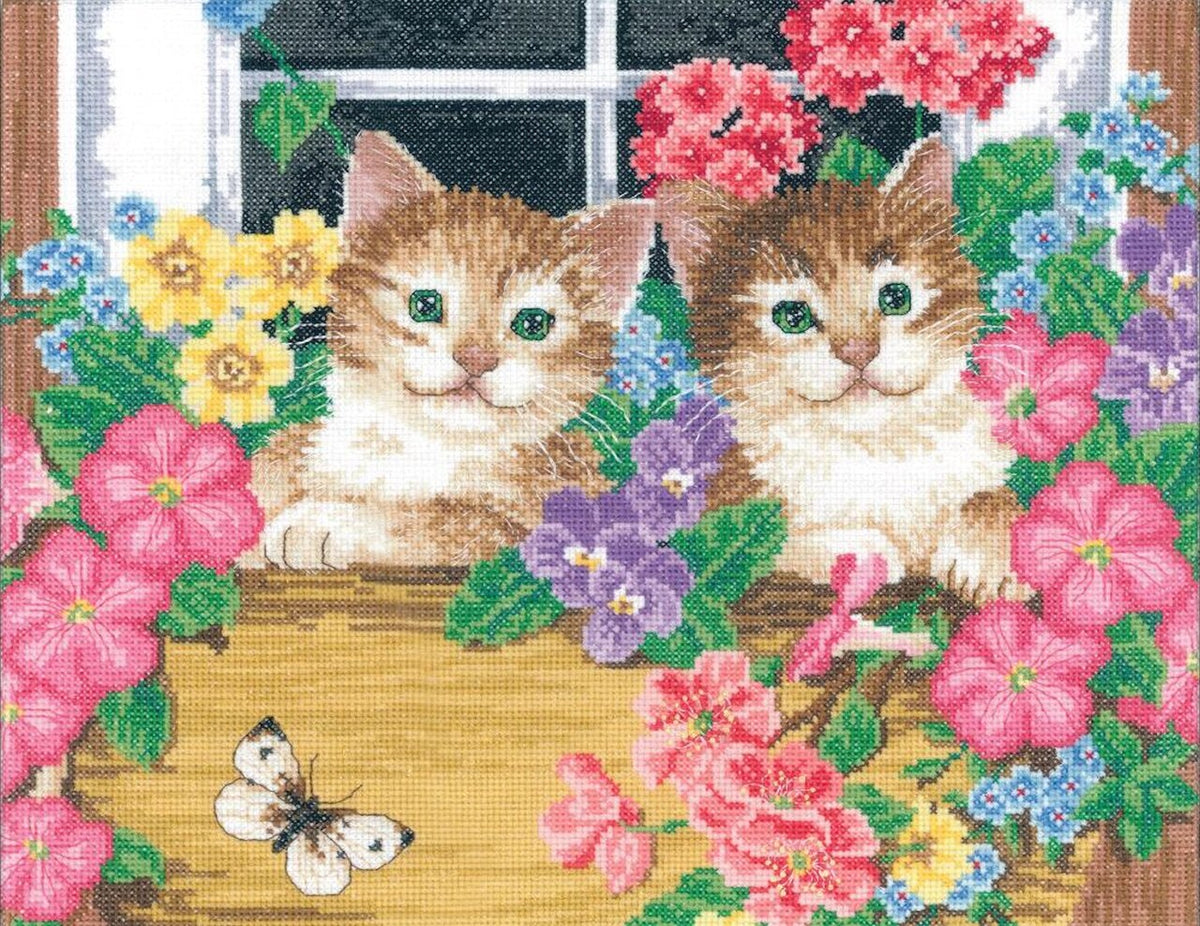 Janlynn Whiskers At The Window Cross Stitch Kit