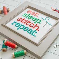 Eat Sleep Stitch Repeat Cross Stitch Chart
