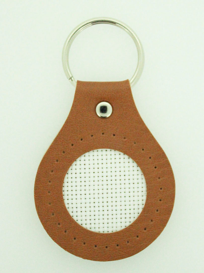 Lecien Cosmo Leather Key-Chain Cross Stitch Brown