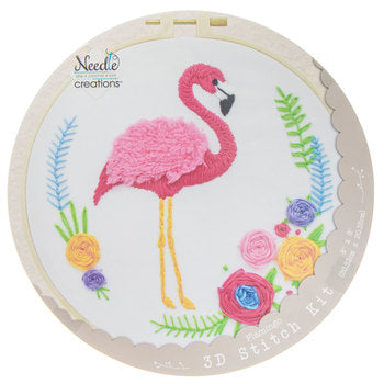 Flamingo 3D Embroidery Kit by Needle Creations