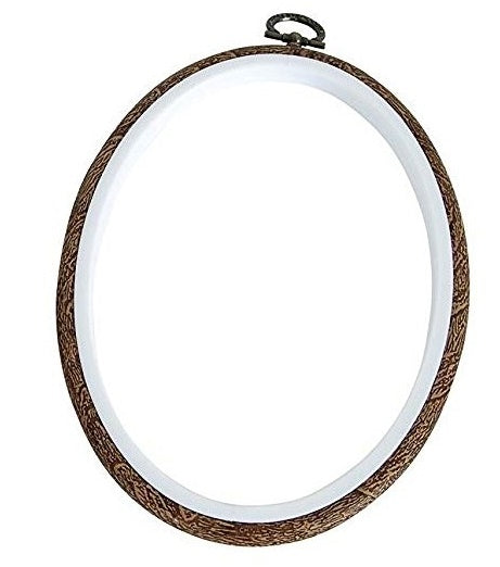 Dual Function Flexi Woodgrain Embroidery Hoop 3.5 x 5 inch