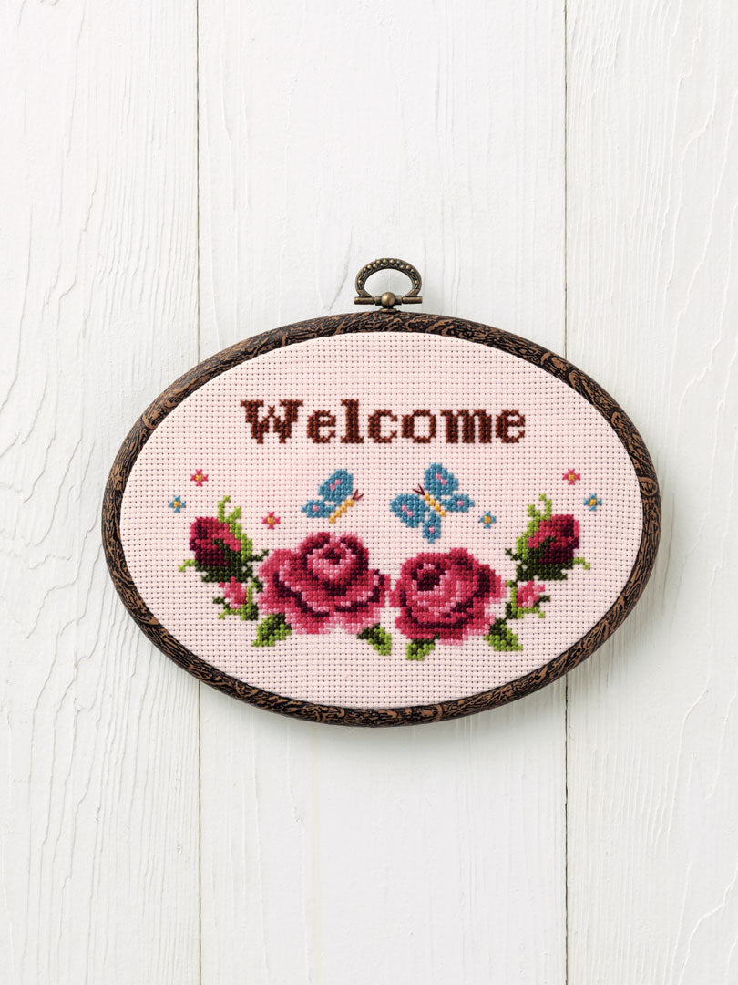 Cross Stitch Kit with Hoop -Welcome (Flora and Fauna design)