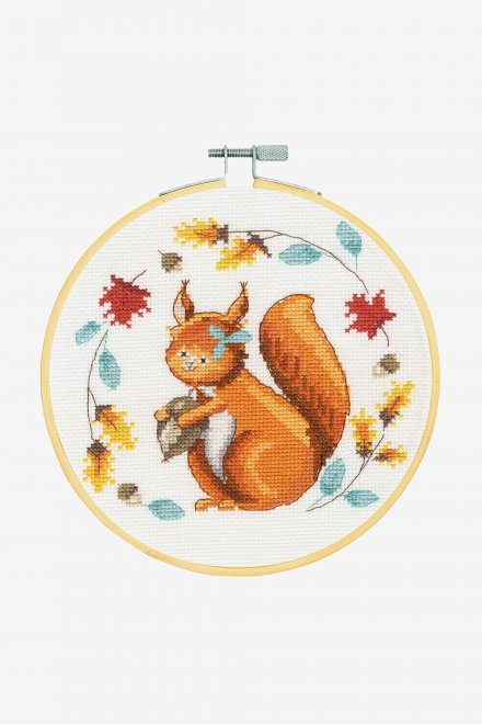 DMC Counted Cross Stitch Kit - Folk Squirrel