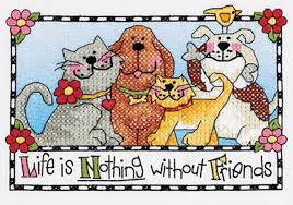 Life is nothing without Friends Stamped Cross Stitch Kit By Dimensions