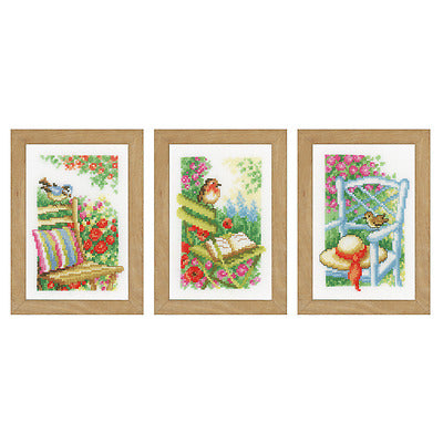 Vervaco- Set of 3 Garden Chairs Scenery Counted Cross Stitch Kit