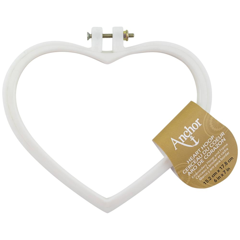 Anchor Heart Shaped Embroidery Hoop 6 inch