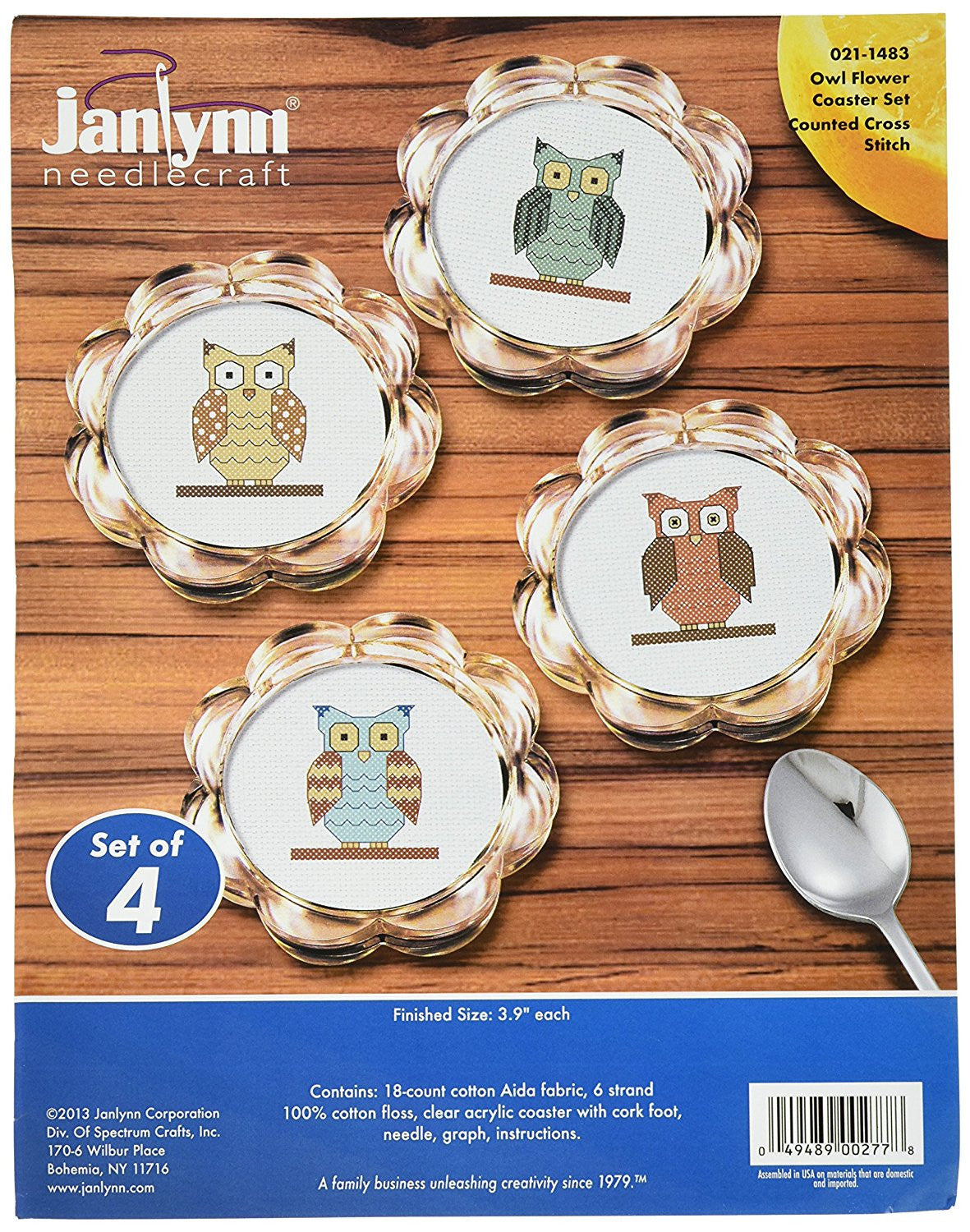 Janlynn Owl flower coaster set counted cross stitch kit  Apps   Save