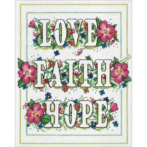 """Love, Faith, Hope"" Cross Stitch Kit"