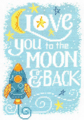 Love you to the Moon Cross Stitch Chart