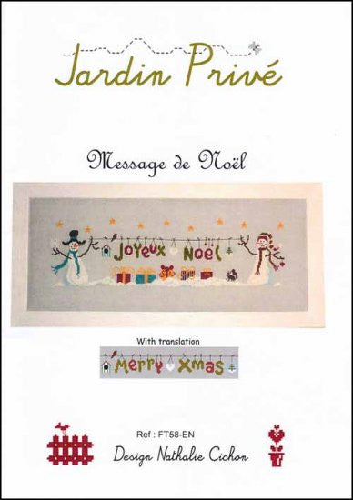 Jardin Prive Message De Noel Cross Stitch Chart