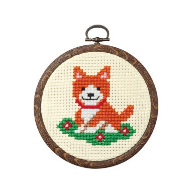 Olympus thread embroidery cross stitch kit with hoop no. 7346 Dog with flowers