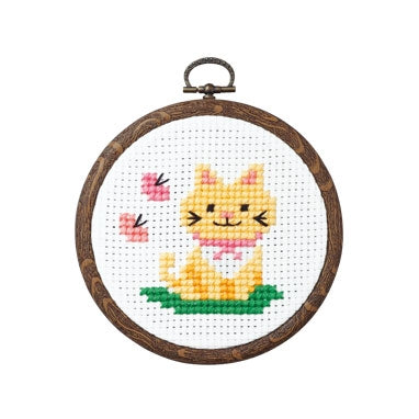Olympus thread embroidery cross stitch kit with hoop no. 7348 Cat with butterflies