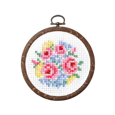 Olympus thread embroidery cross stitch kit with hoop no. 7445 bouquet of roses