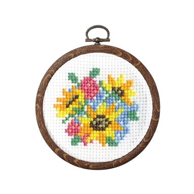 Olympus thread embroidery cross stitch kit with hoop no. 7446 bouquet of sunflowers