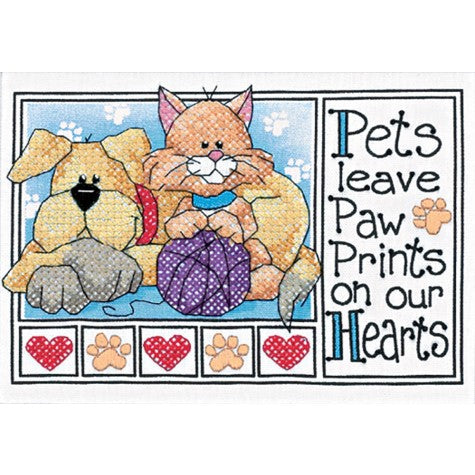 Paw Prints Stamped Cross Stitch Kit By Dimensions