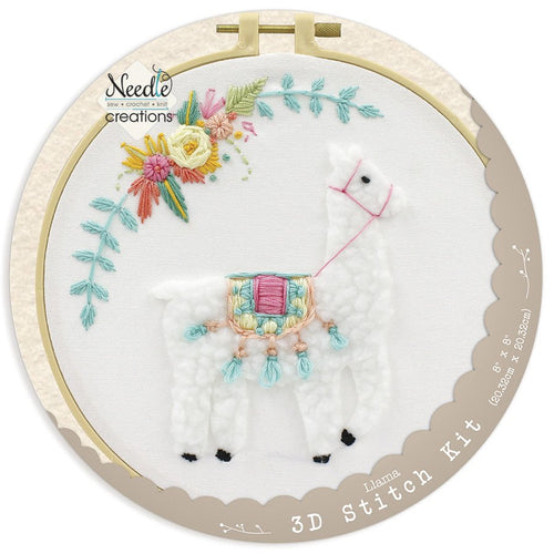 Llama 3D Embroidery Kit by Needle Creations