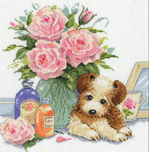 "Design Works ""Puppy with Rose"" Counted Cross Stitch Kit"