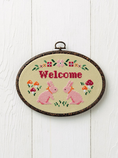 Cross Stitch Kit with Hoop -Welcome (Small Rabbit design)
