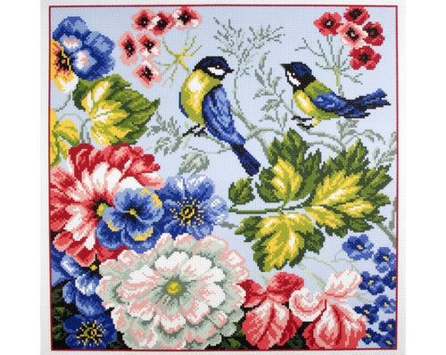 Printed Canvas Cross Stitch Kit- Spring Birds