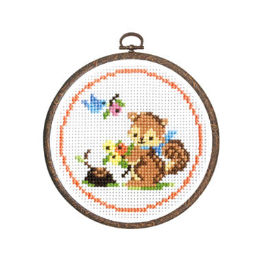 Olympus Cross Stitch Kit - Squirrel with Flowers