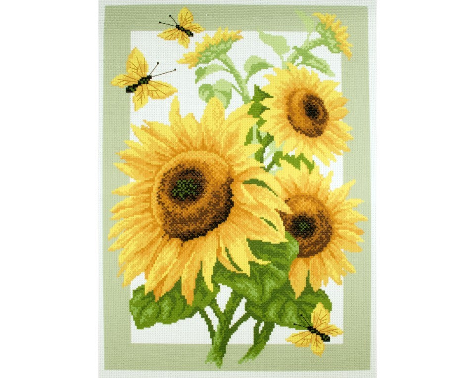 Printed Canvas Cross Stitch Kit- Sunflower