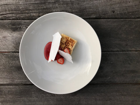 Wood roasted strawberry semifreddo